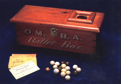 OMBA Ballot Box, gavel and apron