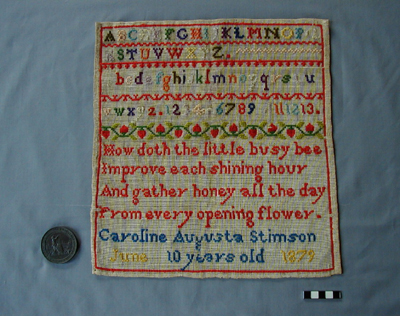 Sampler and Great Exhibition Bronze medallion
