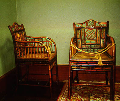 Pair of Cantonese export armchairs