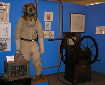 Diving suit including helmet, weights & air supply