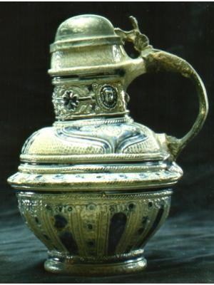 Blue/grey saltgaze stoneware jug with pewter lid/handle