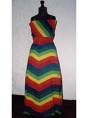 Primary Stripes Evening Dress
