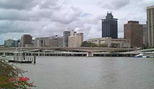 Viewed from South Bank - Brisbane city skyline.
