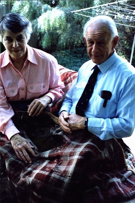 Bill and Muriel with the quilt