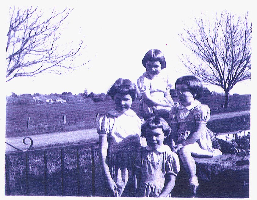 Four of the 'Gaven girls' wearing viyella dresses, 1957<br />b-Fiona(6), l-Thalia(9), r-Juliet(4),f-Clare(6)
