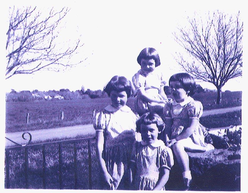 Four of the 'Gaven girls' wearing viyella dresses, 1957<br />b-Fiona(6), l-Thalia(9), r-Juliet(4),f-Clare(6)