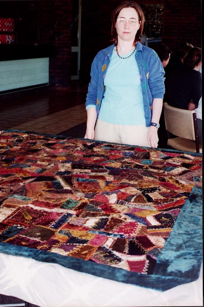 Gabrielle Carter with quilt