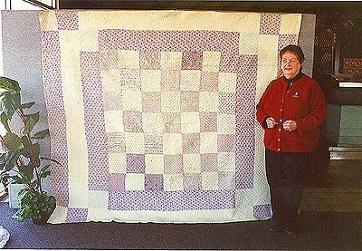 Alison Tunney with quilt