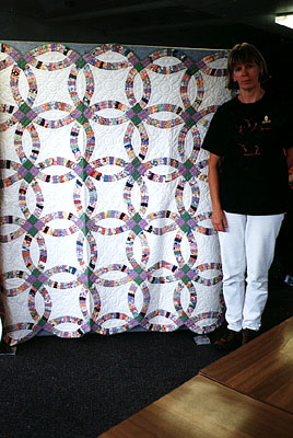 Nancy Dunlap with the quilt.