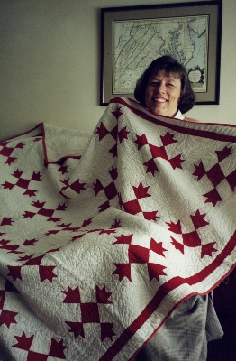 Margery Creek with the quilt