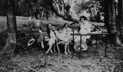 Sunday picnic. Delia at the table. Kandos district, 1935