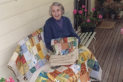 Marjorie Trease with her 3 quilts. Leongatha. 1999