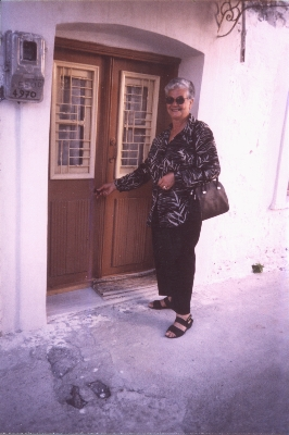Della at the family house at Aghia Paraskevi