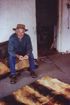 John Coman with the dingo rug, 2000