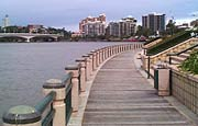Riverside boardwalk along the Brisbane River.